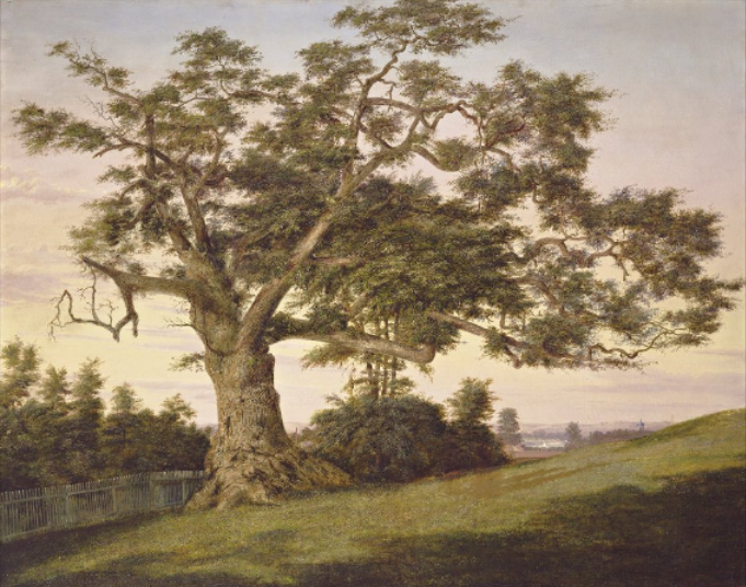 Charles De Wolf Brownell, View of the Charter Oak, Hartford,  oil on canvas - The Wadsworth Atheneum and Connecticut History Illustrated