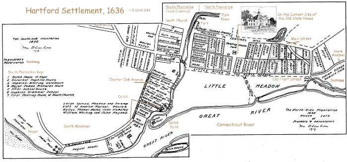 """Hartford Settlement, 1636"" map created from two separate maps, originally published in The Colonial History of Hartford by Rev. William DeLoss Love, 1811, on the website Kenyon Street: Hartford's West End."