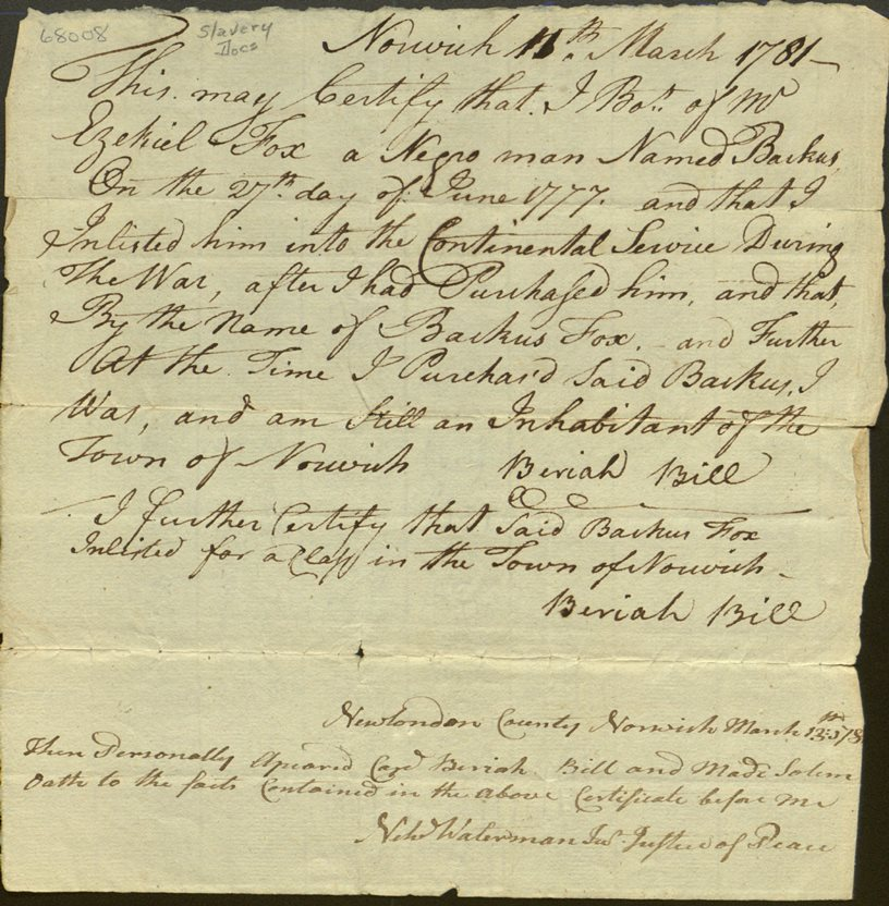 Slave Backus Fox enlistment document, 1781