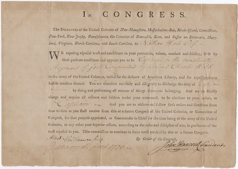 Document commissioning Nathan Hale a Captain