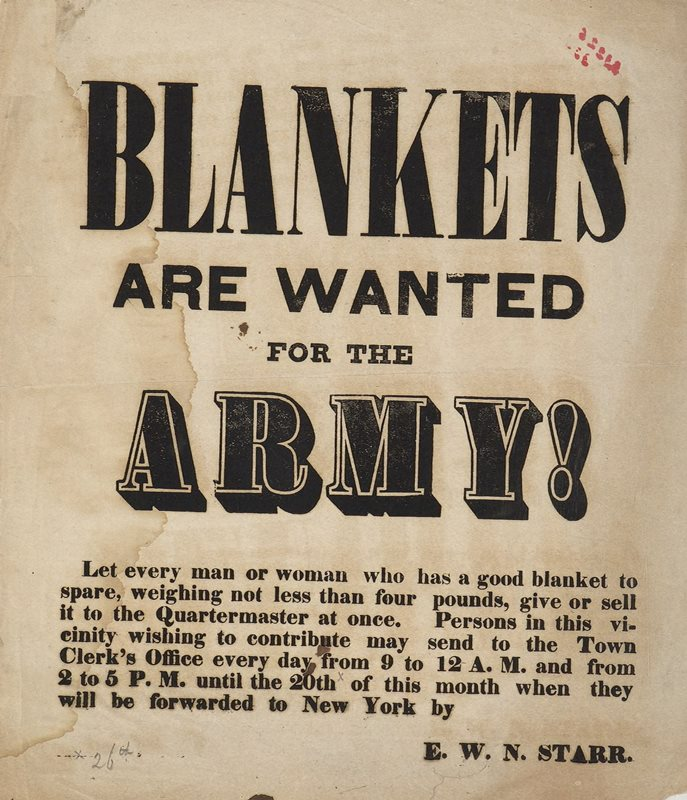 Broadside: Blankets Are Wanted  for the Army!, ca. 1860 - 1869 - Connecticut Historical Society