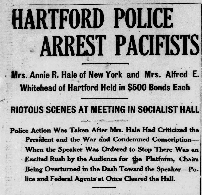 Hartford Police Arrest Pacifists