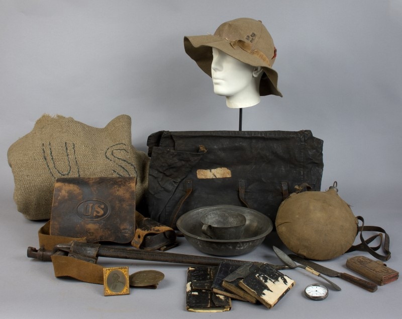 Myron D. Webster's gear fro his service in the Civil War - Connecticut Historical Society