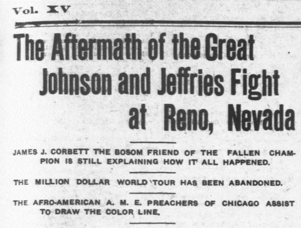 "Detail of the article ""The Aftermath of the Great Johnson and Jeffries Fight at Reno, Nevada"". Broadax (Salt Lake City UT), July 16, 1910 - Click on the image to read the entire article. - Library of Congress, Chronicling America: Historic American Newspapers"