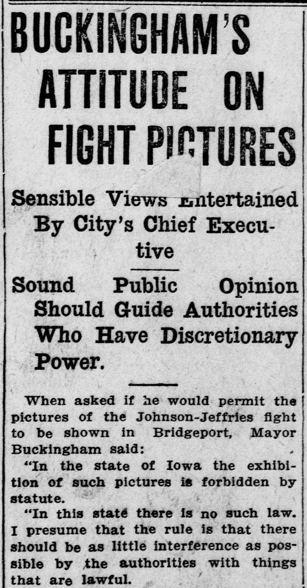 "Detail of the article ""Buckingham's Attitude On Fight Pictures,"" Bridgeport Evening Farmer, July 6, 1910. Click on the image to read the entire article. - Library of Congress, Chronicling America: Historic American Newspapers"