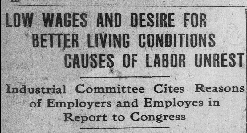 "Detail of article ""Low Wages and Desire for Better Living Conditions Causes of Labor Unrest: Industrial Committee Cites Reasons of Employers and Employees in Report to Congress,"" Bridgeport Evening Farmer, December 8, 1914. Click on the image to read the entire article. – Library of Congress, Chronicling America: Historic American Newspapers"