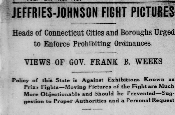 "Detail of the article ""Jeffries-Johnson Fight Pictures,"" Norwich Bulletin, July 8, 1910. Click on the image to read the entire article. - Library of Congress, Chronicling America: Historic American Newspapers"