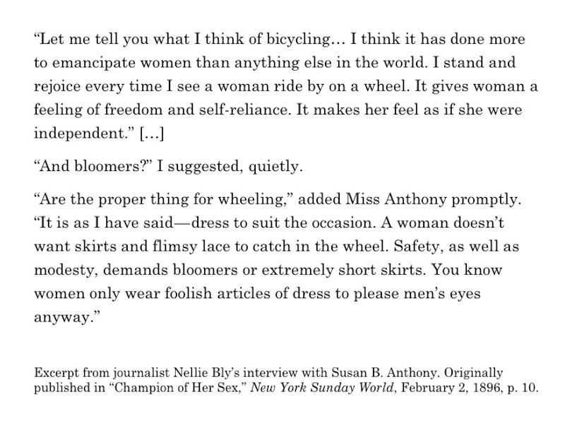 Excerpt from journalist Nellie Bly's interview with Susan B. Anthony