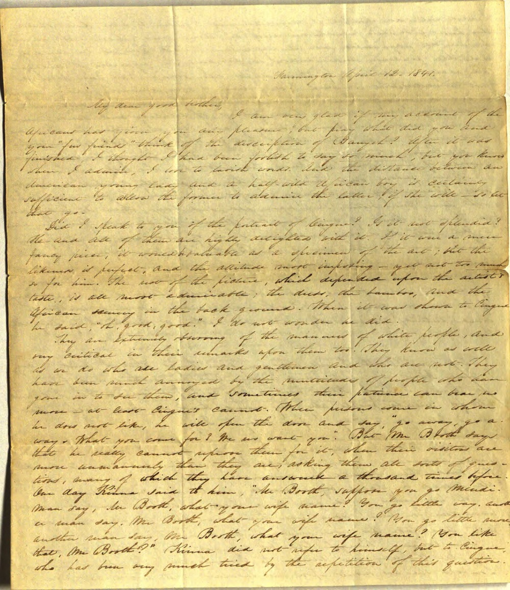 Letter from Charlotte to Samuel Cowles, April 12, 1841