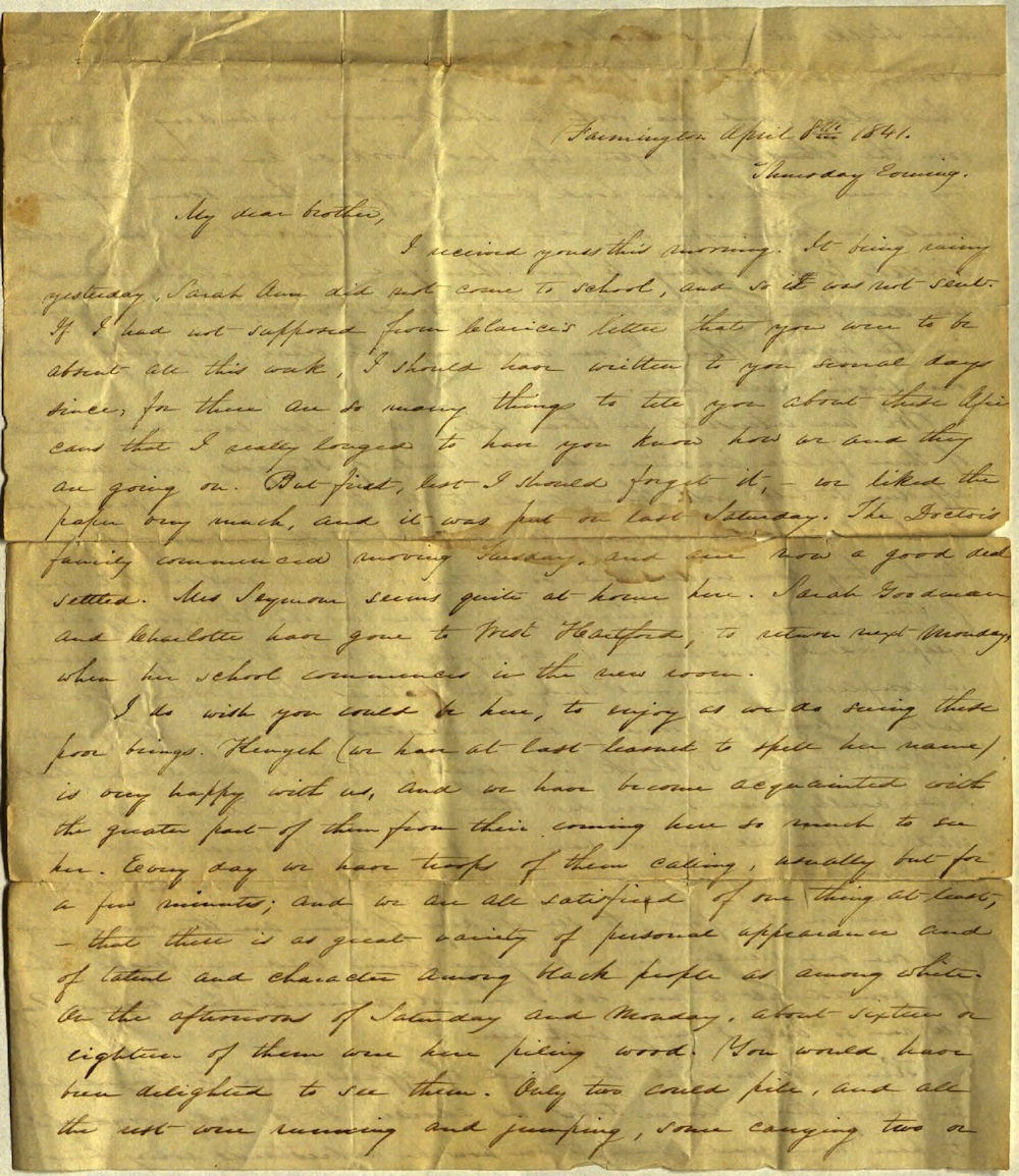 Letter from Charlotte to Samuel Cowles, April 8, 1841