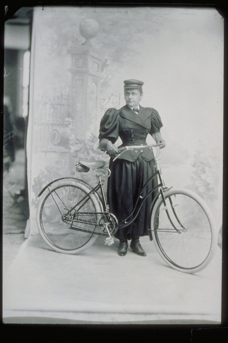 Mrs. C. D. Smith with bicycle