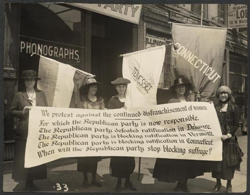 Party members picketing the Republican convention