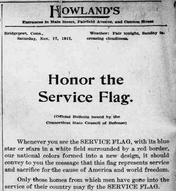 Advertisement for Howland's, 1917