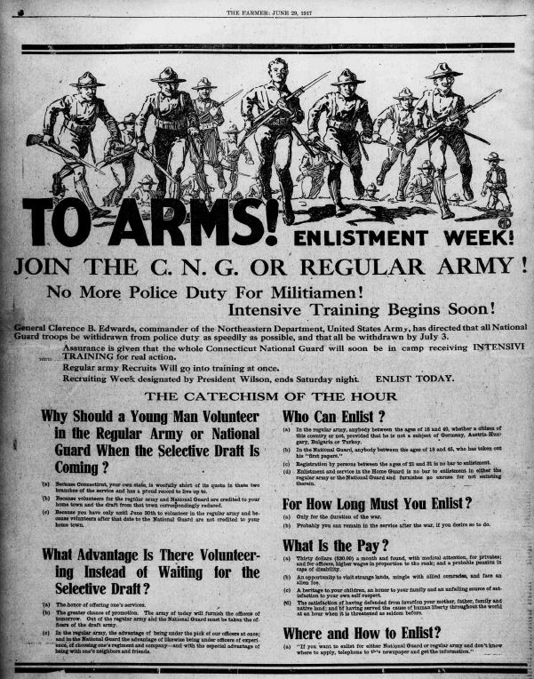 """To Arms!"" a full page ad in The Bridgeport Evening Farmer, 1917"