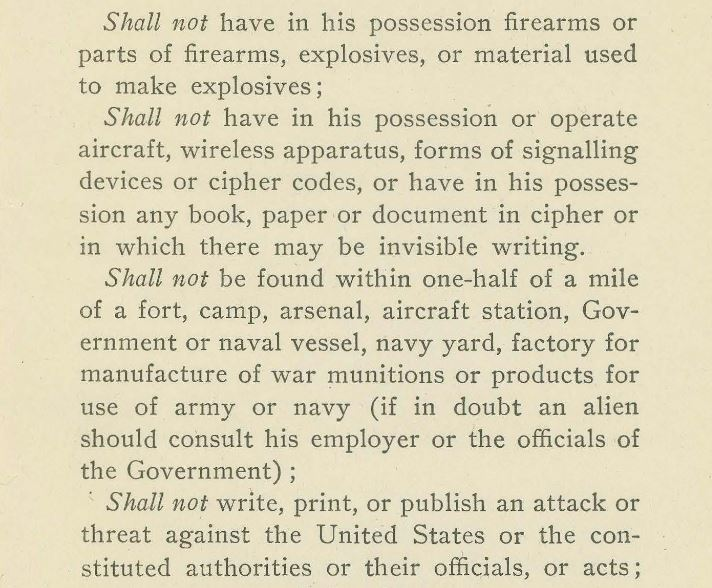 Detail of the bulletin Suggestions and Requirements for Enemy Aliens Contained in the President's Proclamation of War, April, 1917