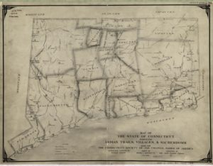 1930's Map of Connecticut representing Native America tribes in 1625n