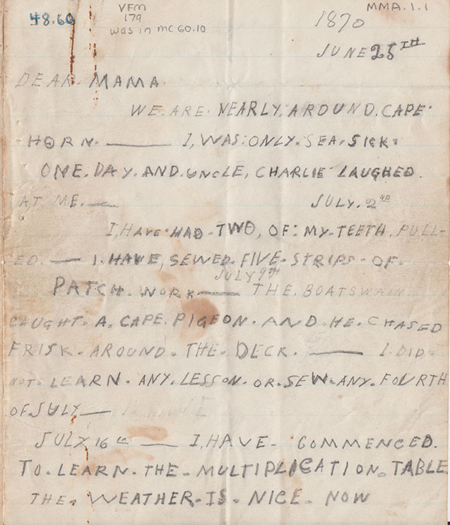Maud Maxon was a little girl in Mystic, Connecticut, who went on a ship voyage with her uncle. Her mother did not go on the trip, so the letter tells her mother of her days at sea. Page one of letter. - Mystic Seaport