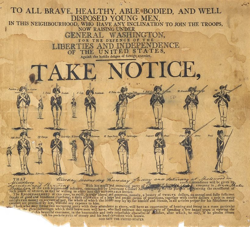 Recruitment poster for George Washington's Continental Army