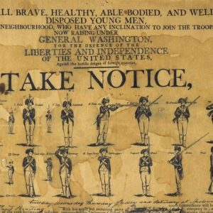 Detail of a recruitment poster for George Washington's Continental Army