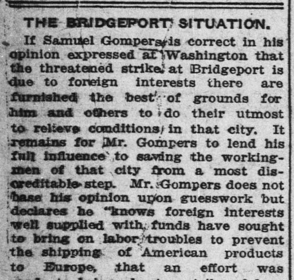 "Detail of article ""The Bridgeport Situation,"" Norwich Bulletin, July 20, 1915. Click on the image to read the entire article. – Library of Congress, Chronicling America: Historic American Newspapers"