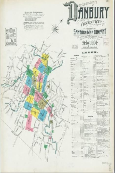 An example of a Sanborn map titled Insurance maps of Danbury, Fairfield County, Connecticut by the Sanborn Map Company, 1904 -