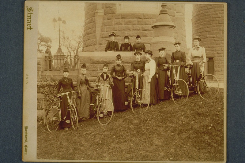 Ladies Cycle Club of Hartford, 1890. Photograph by Charles T. Stuart - Connecticut Historical Society
