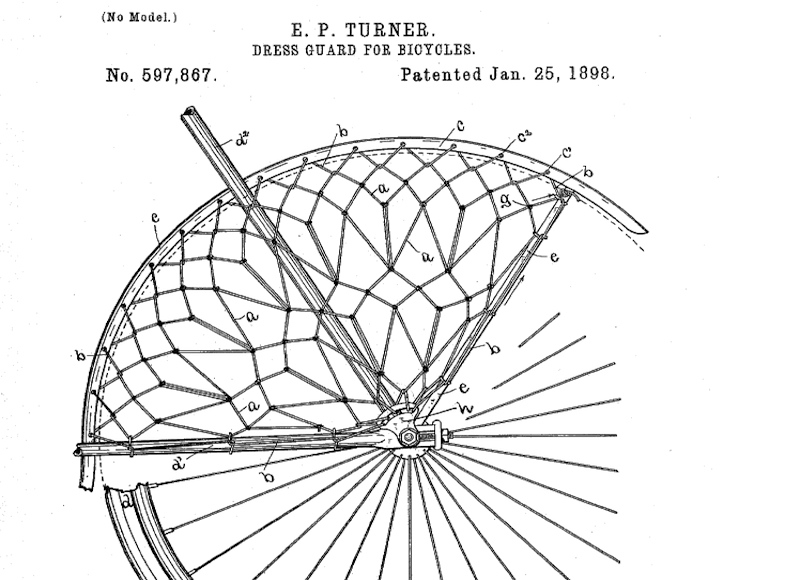 Patent # US000597867, Dress-guard for bicycles, Emerson P. Turner, Norwich, CT, Application date: February 18, 1897: