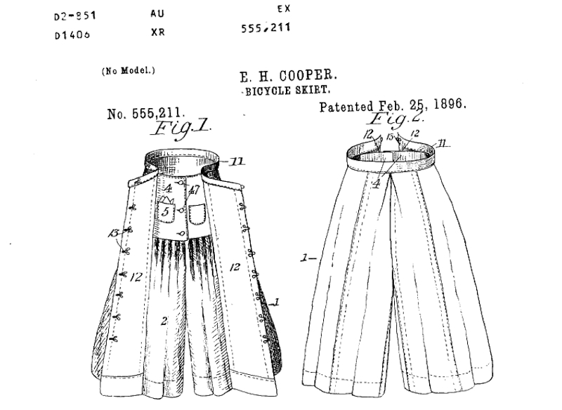Detail of Patent number US555211A, Bicycle-skirt, Ella H. Cooper, Meriden, CT, Application date: July 18, 1895 - Patent date: February 25, 1896 - United States Patent Office