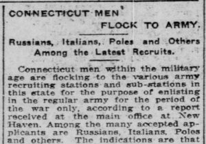 Newspaper article on World War I enlistment