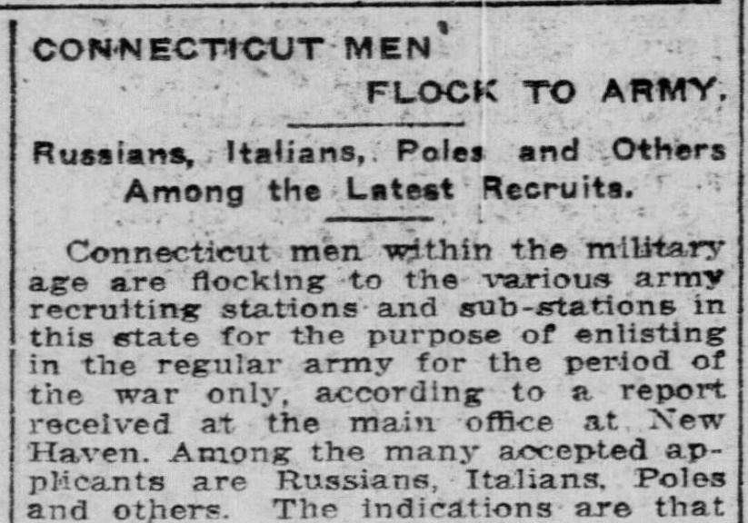 Detail from the article Connecticut Men Flock to Army