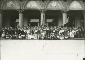 Photograph of Bastille Day, French residents of Hartford celebrating Bastille Day