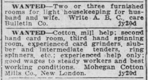 Want Ad - Cotton Mill Help