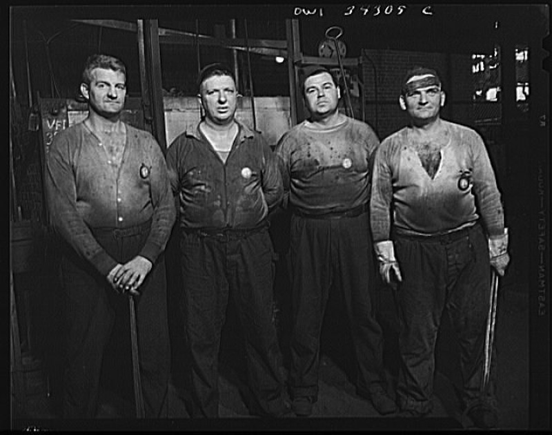 Photograph of forging crew at the Fafnir Bearing Company, New Britain, Connecticut