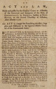An act passed by General Assembly in 1776 concerning military supplies
