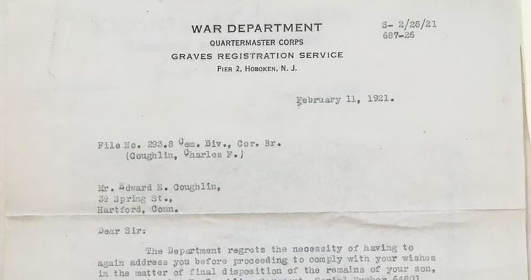 Letter from J. F. Butler, Graves Registration Service, War Department, February 11, 1921