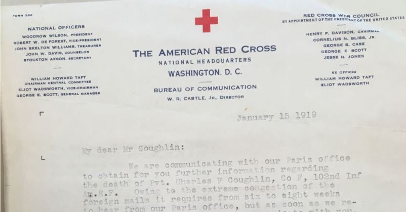 letter from W.R. Castle, Director, Bureau of Communications, American Red Cross to Edward E. Coughlin, January 15, 1919