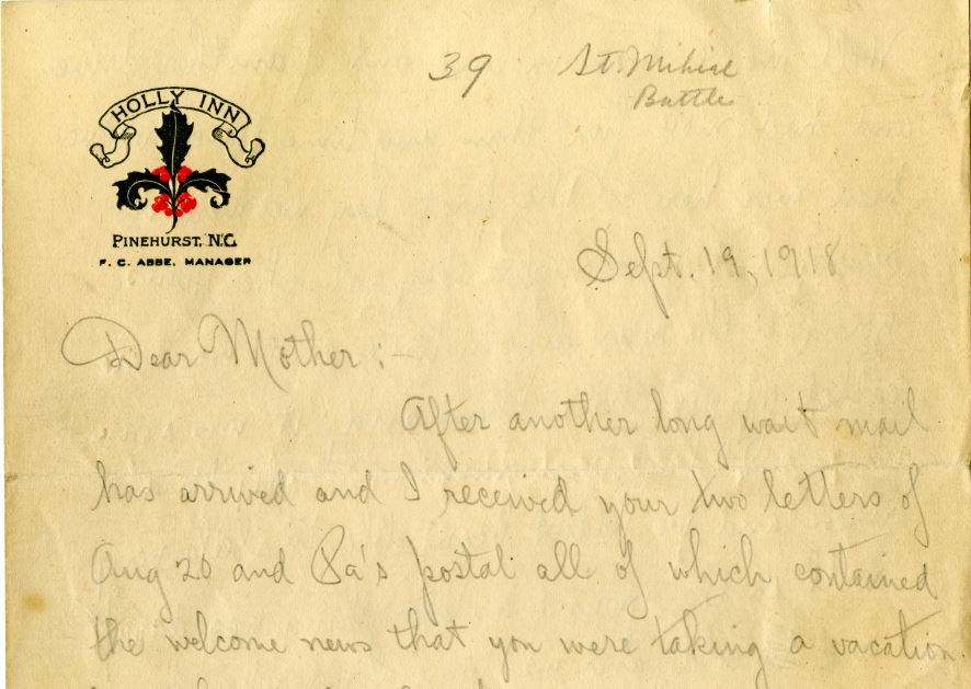 Letter from Charles F. Coughlin to his mother, September 19, 1918