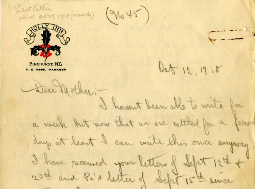 Letter from Charles F. Coughlin to his mother, October 12, 1918