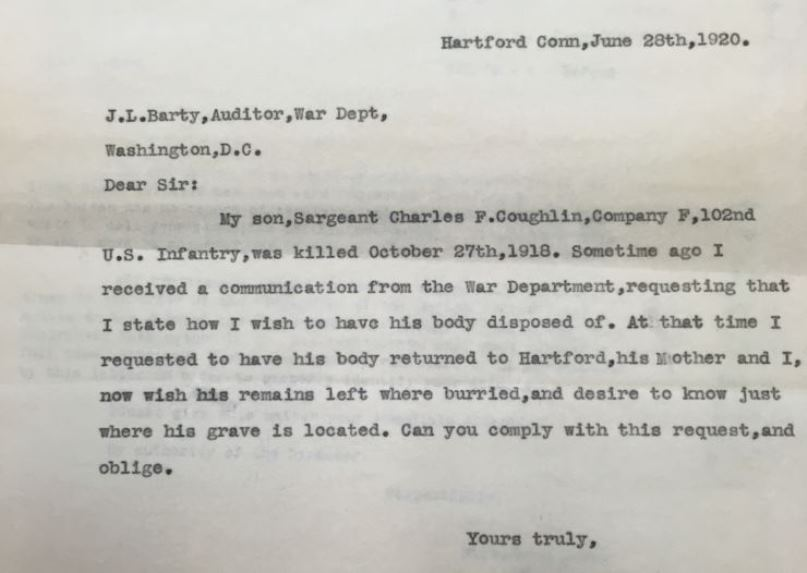 Letter from Edward E. Coughlin to J. L. Barty, Auditor, War Department, June 28, 1920