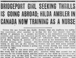 """Hilda Ambler in Canada Now Training as a Nurse"""