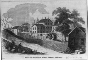 An illustration of the iron foundry at Salisbury, CT