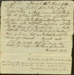 Enslaved Backus Fox enlistment document, 1781