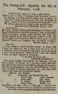 Broadside announcing the repeal of the Stamp act