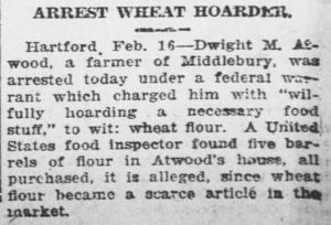 1918 News article about wheat hoarding