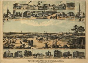Bird's-eye map of Willimantic, 1832